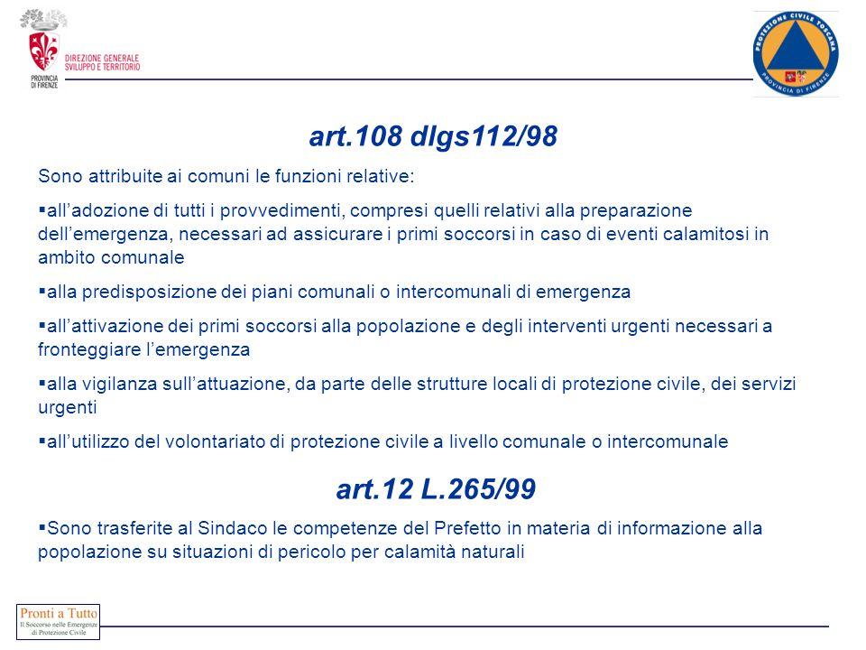 art.108 dlgs112/98 Sono attribuite ai comuni le funzioni relative: