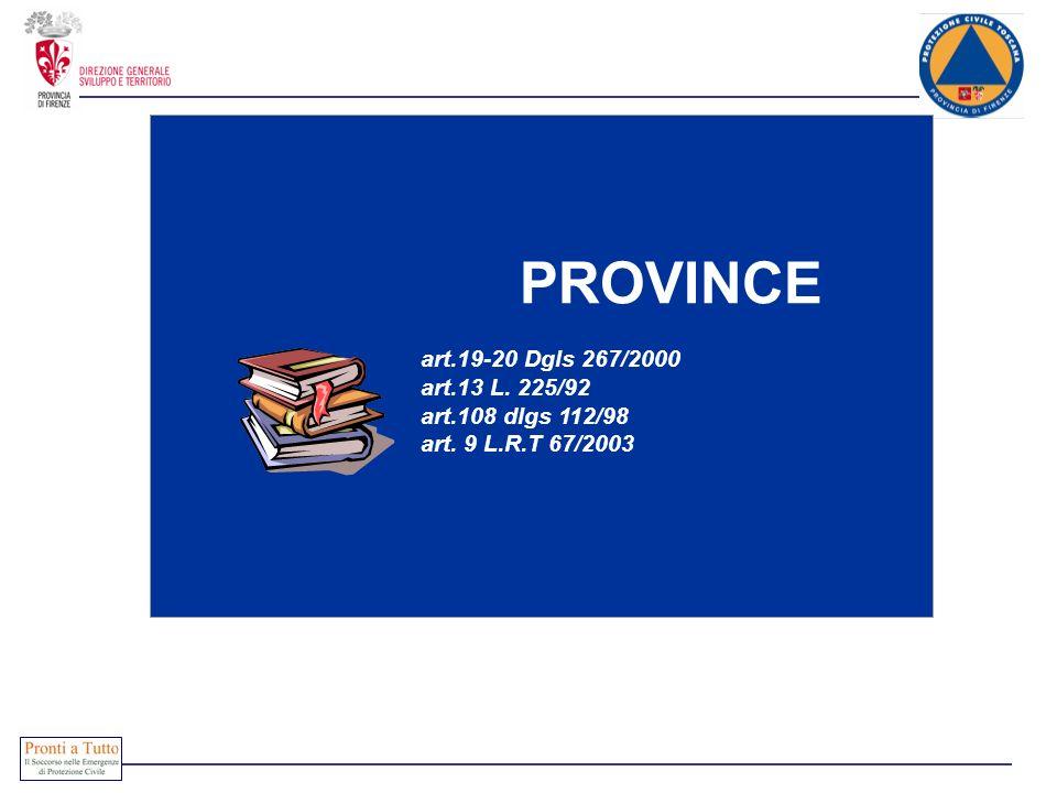 PROVINCE art.19-20 Dgls 267/2000 art.13 L. 225/92 art.108 dlgs 112/98