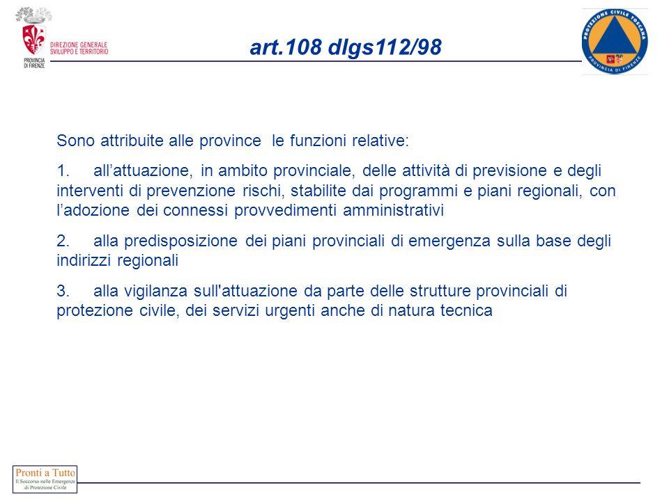 art.108 dlgs112/98 Sono attribuite alle province le funzioni relative: