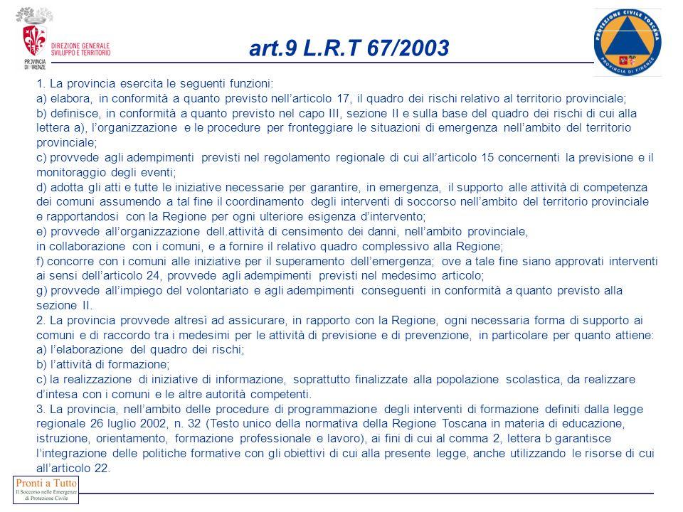 art.9 L.R.T 67/2003 1. La provincia esercita le seguenti funzioni: