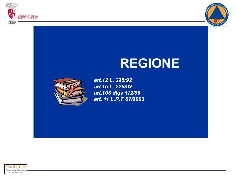 REGIONE art.12 L. 225/92 art.15 L. 225/92 art.108 dlgs 112/98