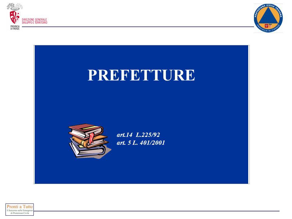 PREFETTURE art.14 L.225/92 art. 5 L. 401/2001