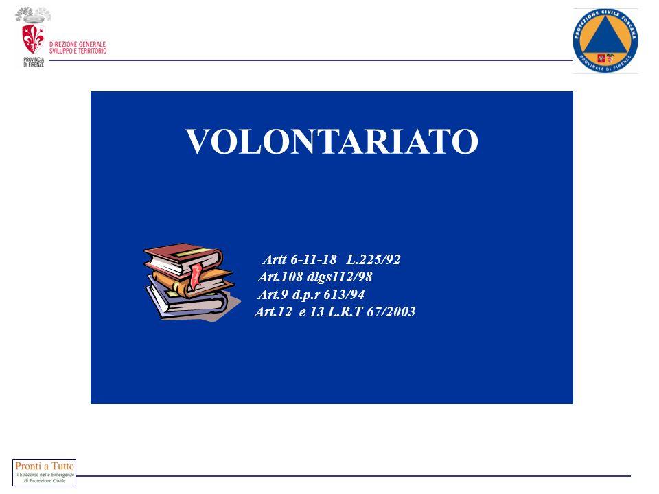 VOLONTARIATO Artt 6-11-18 L.225/92 Art.108 dlgs112/98