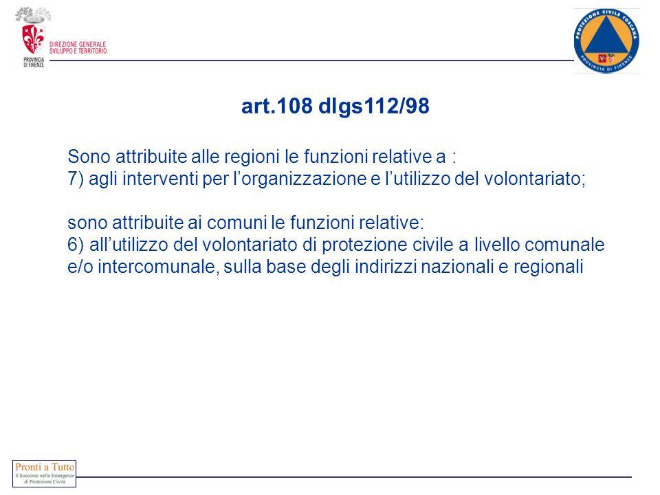 art.108 dlgs112/98 Sono attribuite alle regioni le funzioni relative a : 7) agli interventi per l'organizzazione e l'utilizzo del volontariato;