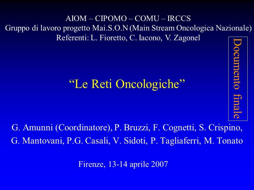 Le Reti Oncologiche Documento finale