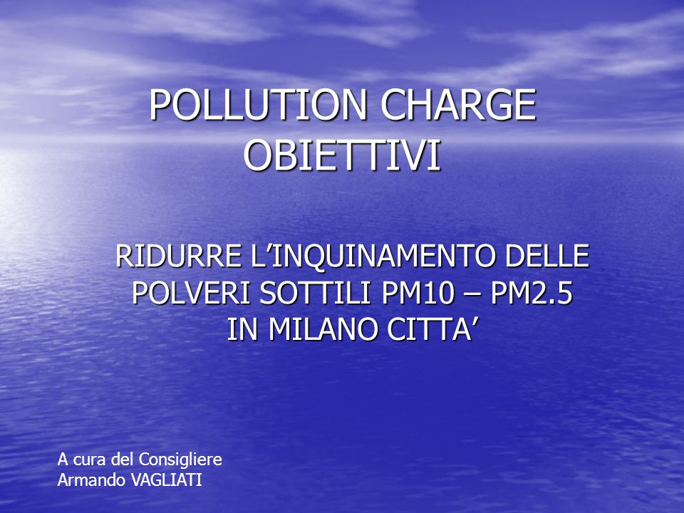POLLUTION CHARGE OBIETTIVI