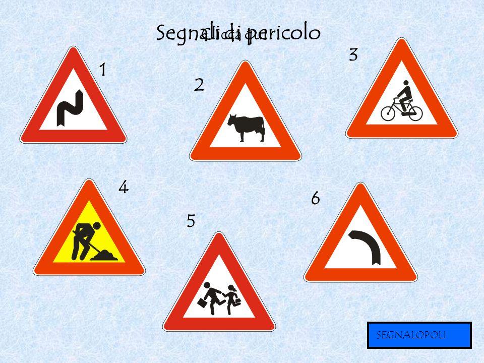 Segnali di pericolo Clicca qui 3 1 2 4 6 5 SEGNALOPOLI