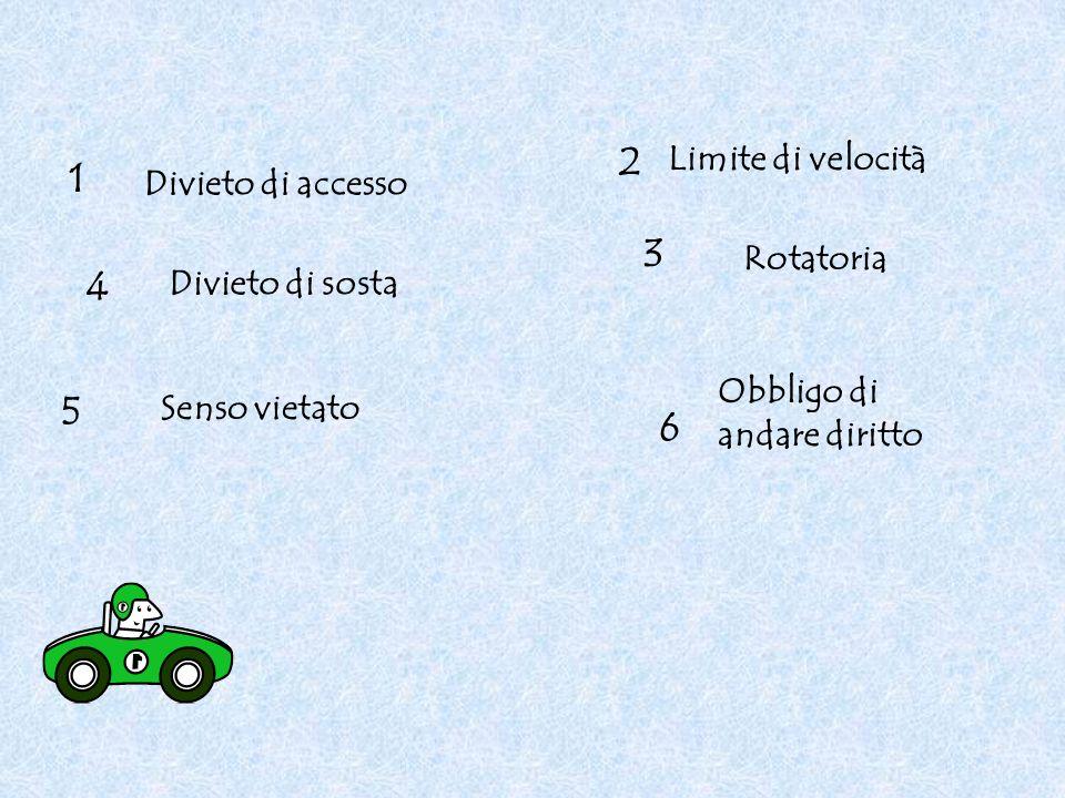 2 1 3 4 5 6 Limite di velocità Divieto di accesso Rotatoria