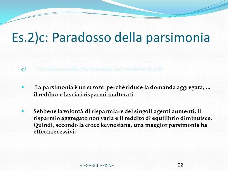 Es.2)c: Paradosso della parsimonia
