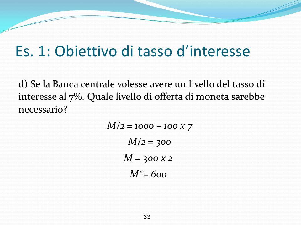 Es. 1: Obiettivo di tasso d'interesse