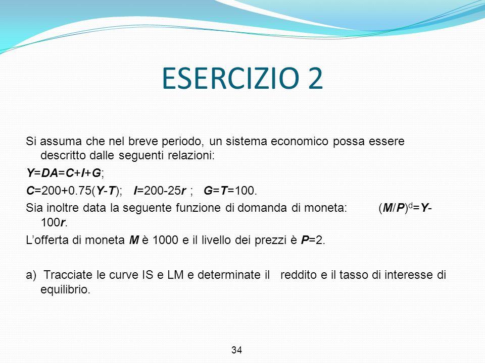 ESERCIZIO 2 Si assuma che nel breve periodo, un sistema economico possa essere descritto dalle seguenti relazioni: