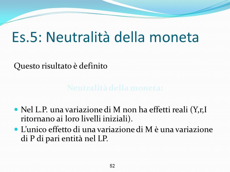 Es.5: Neutralità della moneta