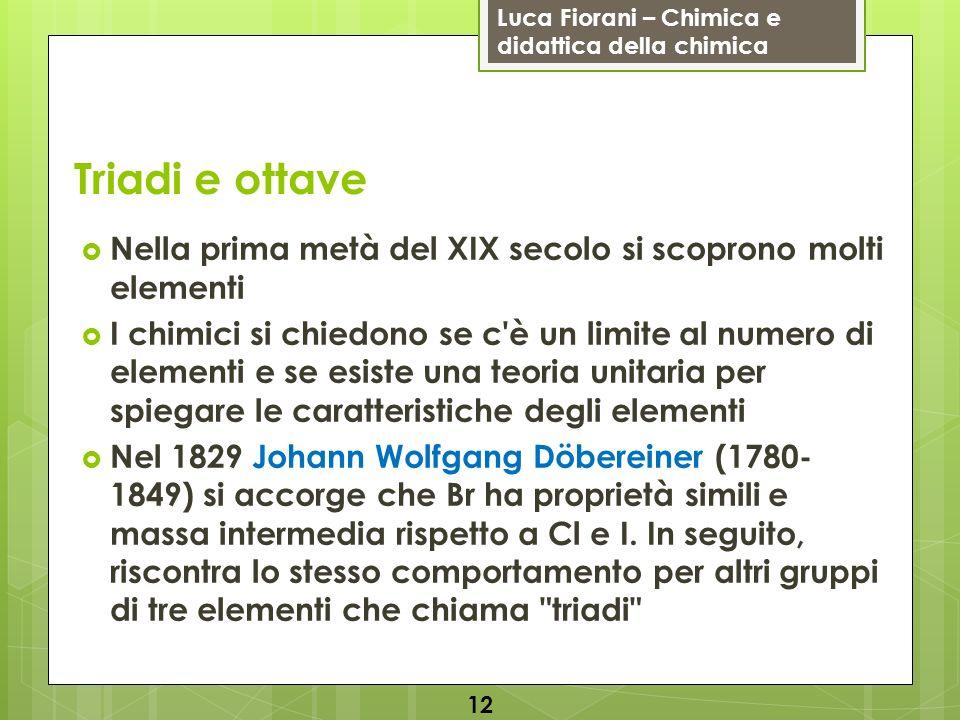 Triadi e ottave Nella prima metà del XIX secolo si scoprono molti elementi.