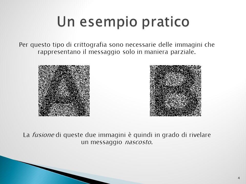 Un esempio pratico Per questo tipo di crittografia sono necessarie delle immagini che. rappresentano il messaggio solo in maniera parziale.
