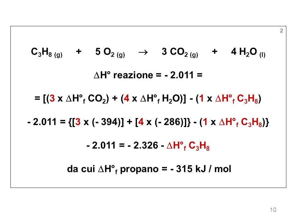 C3H8 (g) + 5 O2 (g)  3 CO2 (g) + 4 H2O (l) H° reazione = - 2.011 =