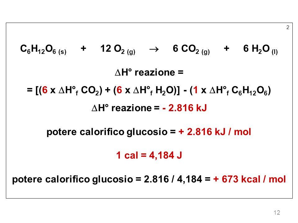 C6H12O6 (s) + 12 O2 (g)  6 CO2 (g) + 6 H2O (l) H° reazione =