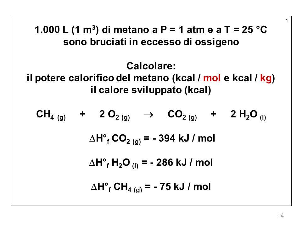 1.000 L (1 m3) di metano a P = 1 atm e a T = 25 °C