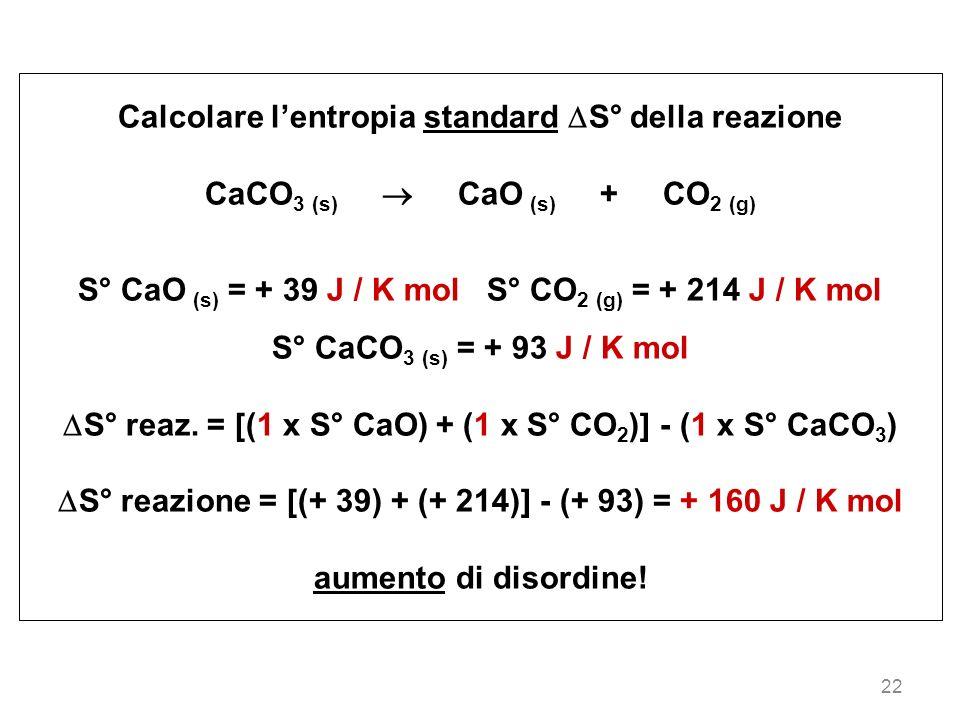 Calcolare l'entropia standard S° della reazione