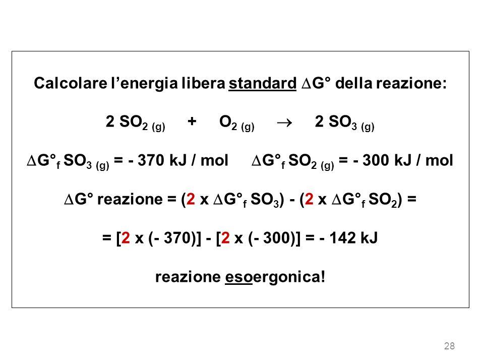 Calcolare l'energia libera standard G° della reazione: