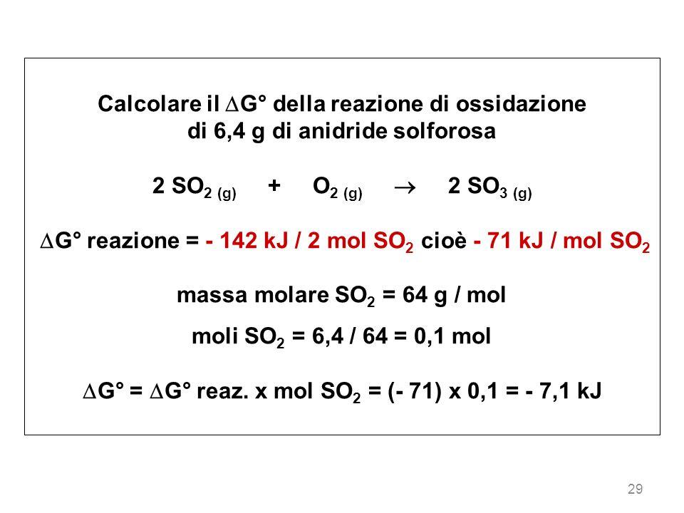 Calcolare il G° della reazione di ossidazione