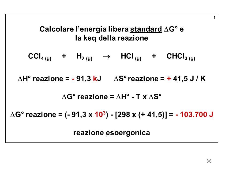Calcolare l'energia libera standard G° e la keq della reazione