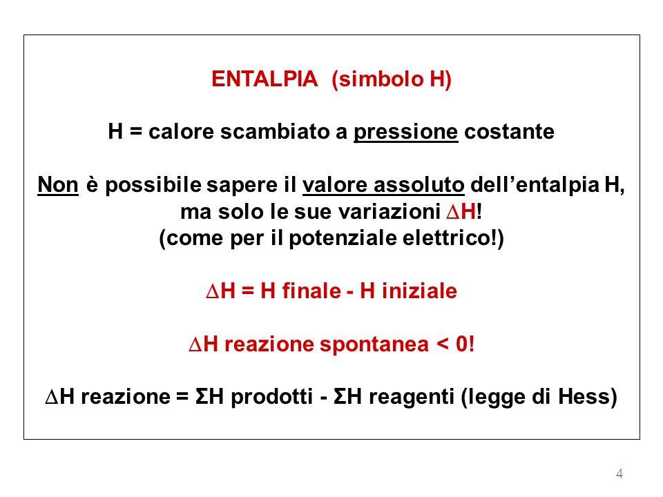 H = calore scambiato a pressione costante