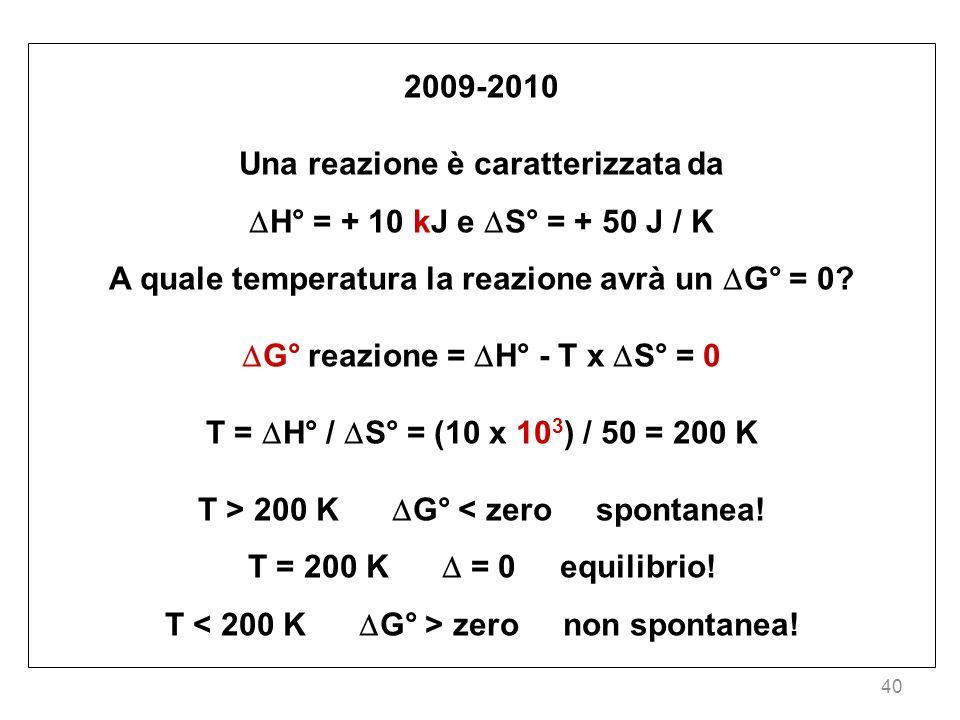 Una reazione è caratterizzata da H° = + 10 kJ e S° = + 50 J / K