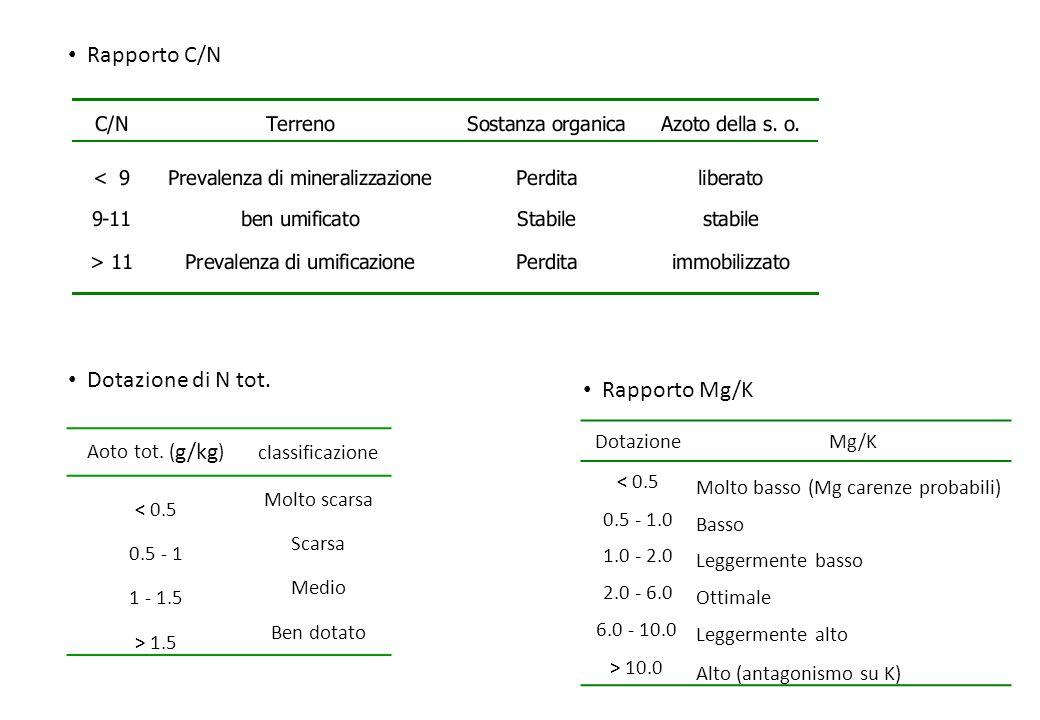 Rapporto C/N Dotazione di N tot. Rapporto Mg/K Dotazione Mg/K < 0.5