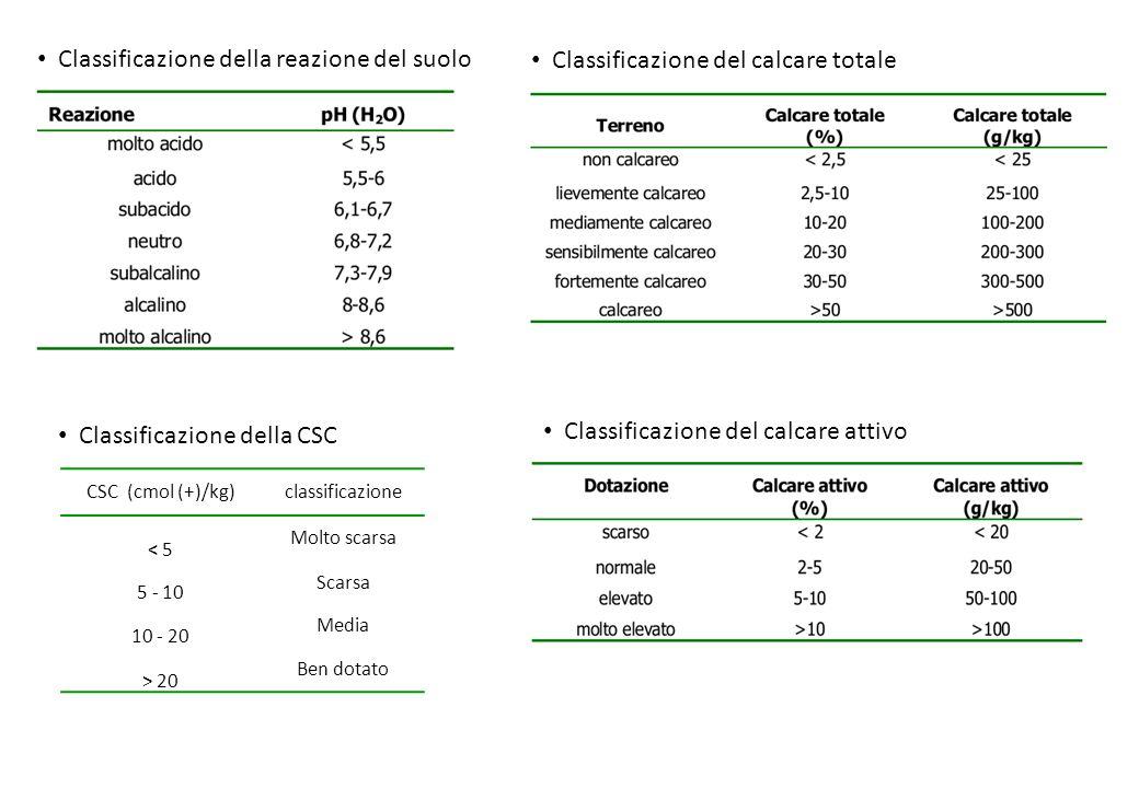 Classificazione della reazione del suolo