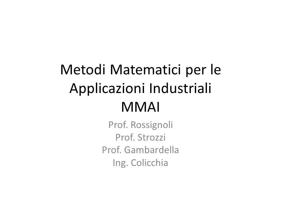 Metodi Matematici per le Applicazioni Industriali MMAI