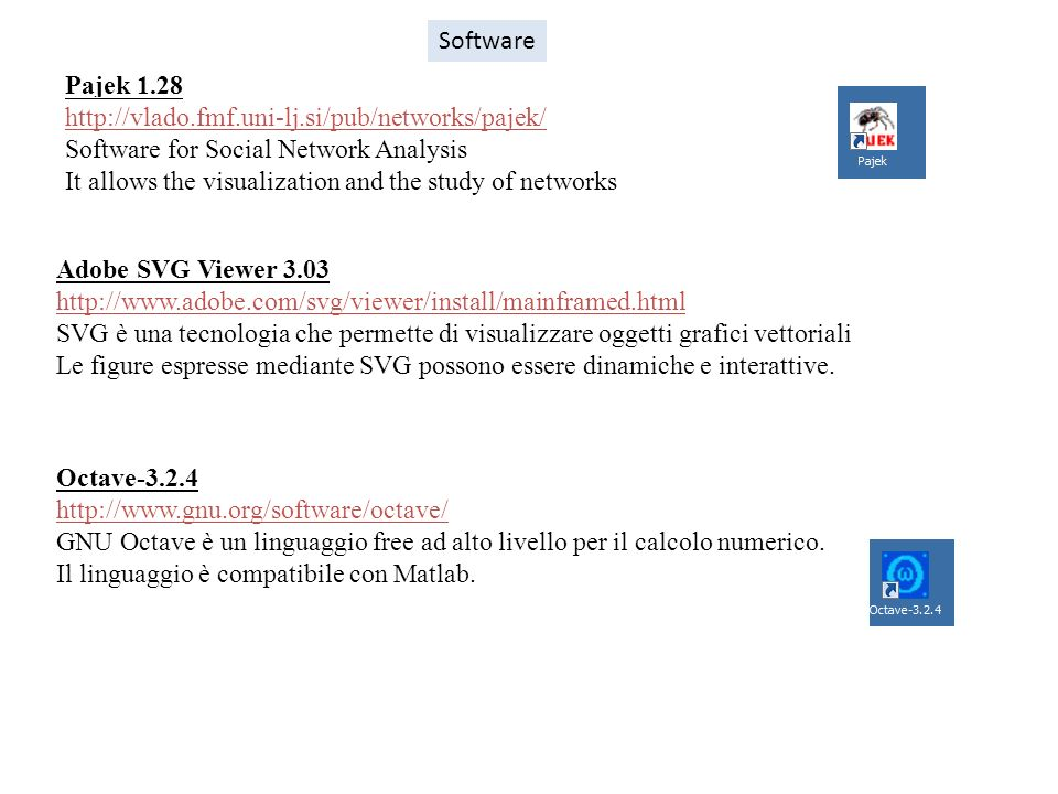 Software Pajek 1.28. http://vlado.fmf.uni-lj.si/pub/networks/pajek/ Software for Social Network Analysis.