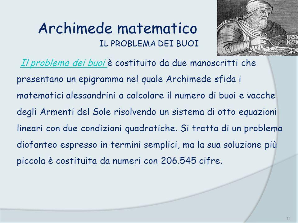 Archimede matematico IL PROBLEMA DEI BUOI.