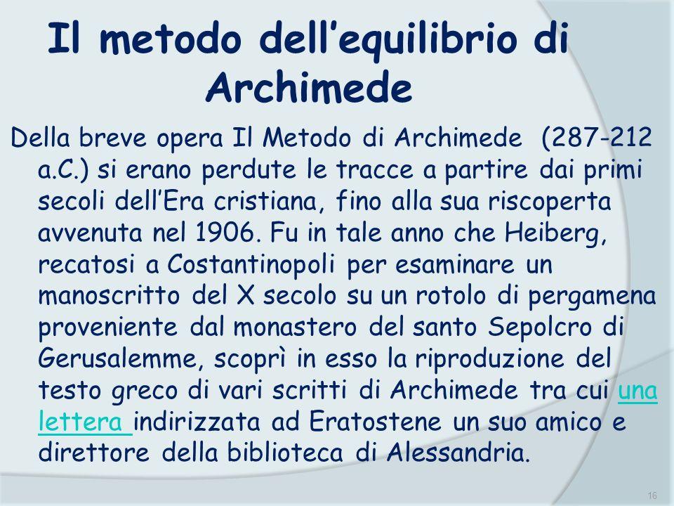 Il metodo dell'equilibrio di Archimede