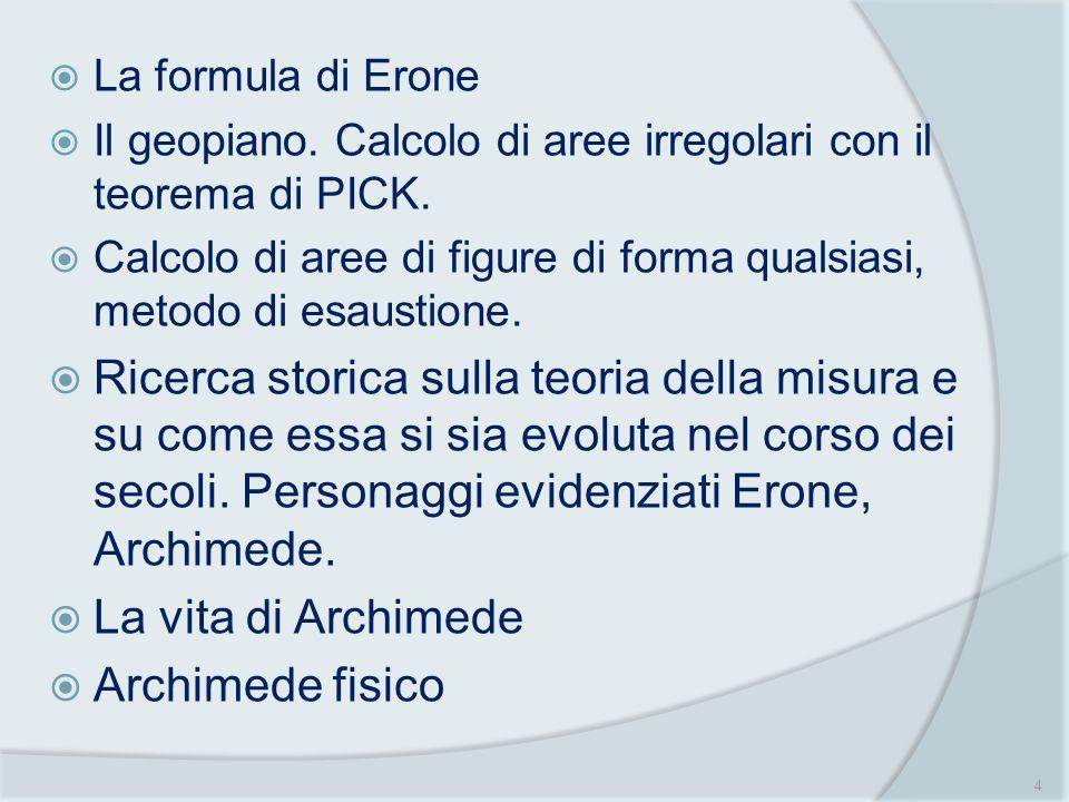 La formula di Erone Il geopiano. Calcolo di aree irregolari con il teorema di PICK.