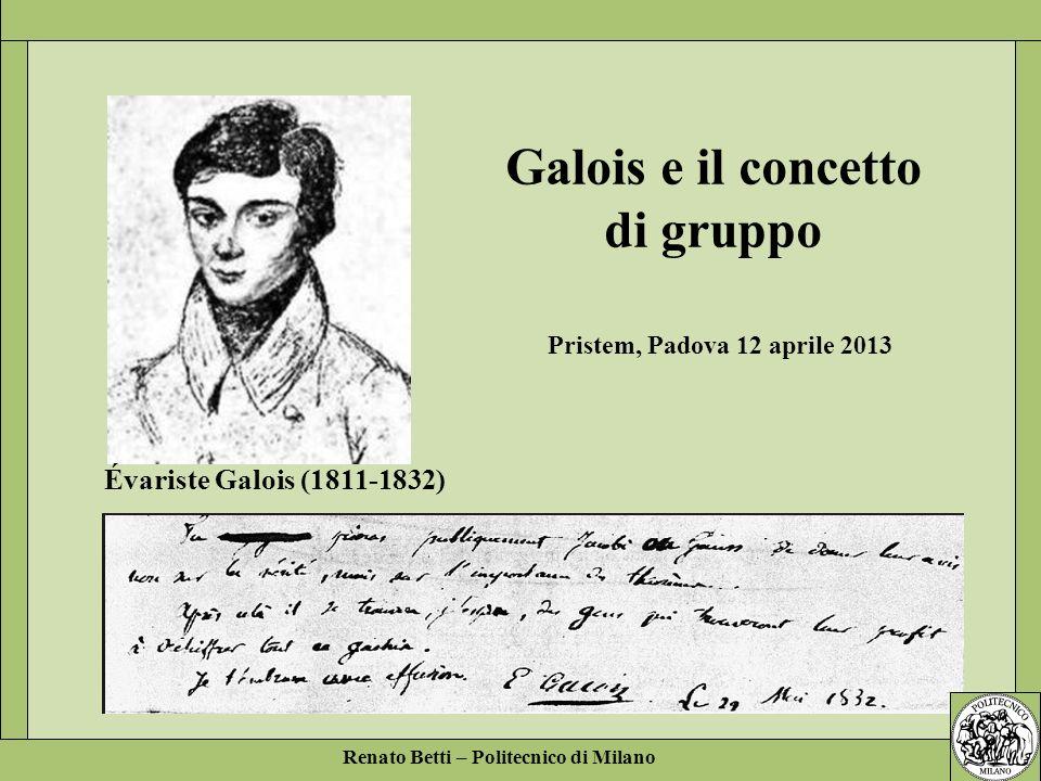 Galois e il concetto di gruppo