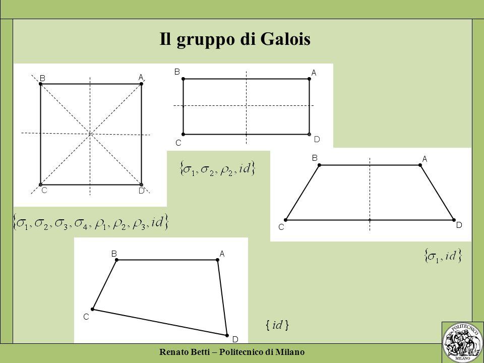 Il gruppo di Galois { id } Renato Betti – Politecnico di Milano
