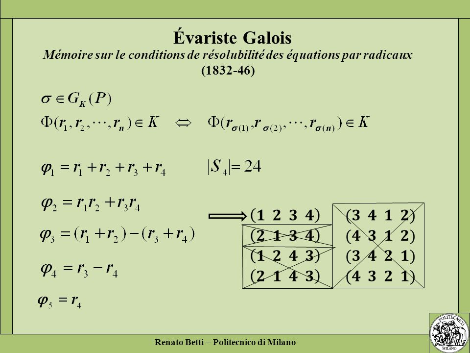 Mémoire sur le conditions de résolubilité des équations par radicaux (1832-46)