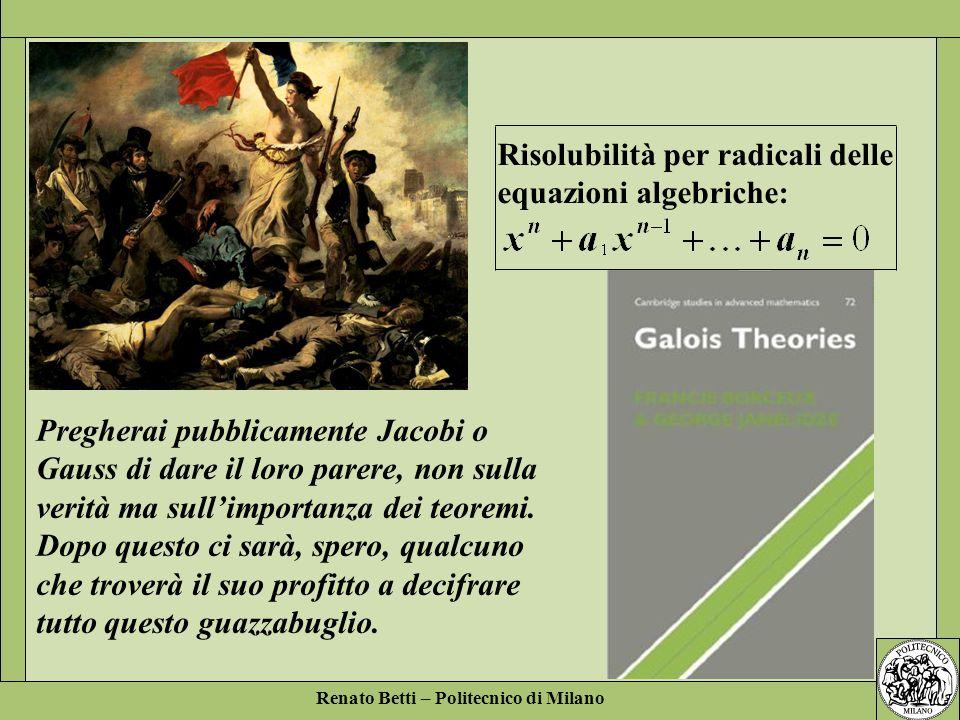 Risolubilità per radicali delle equazioni algebriche: