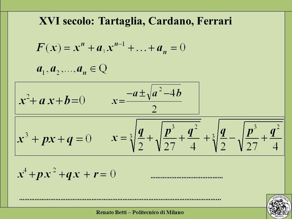 XVI secolo: Tartaglia, Cardano, Ferrari