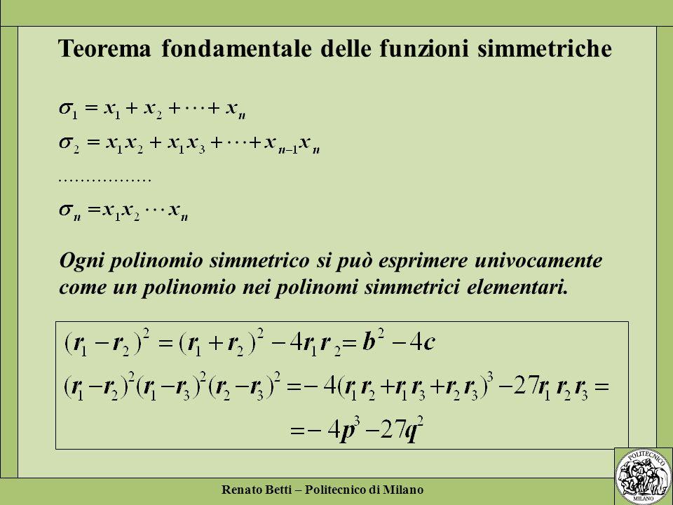 Teorema fondamentale delle funzioni simmetriche