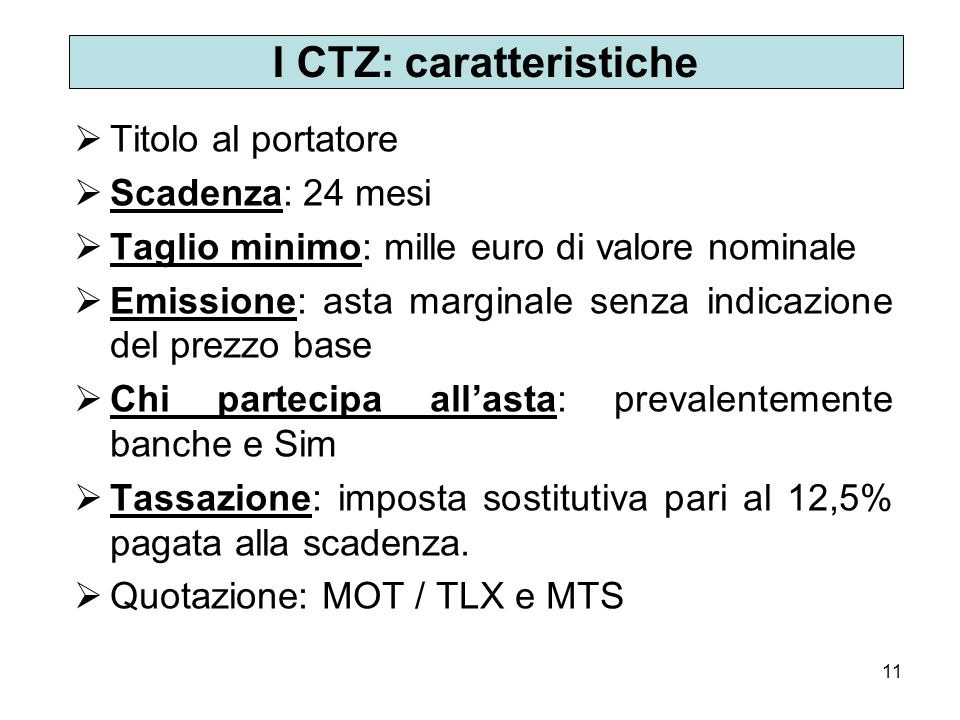 I CTZ: caratteristiche