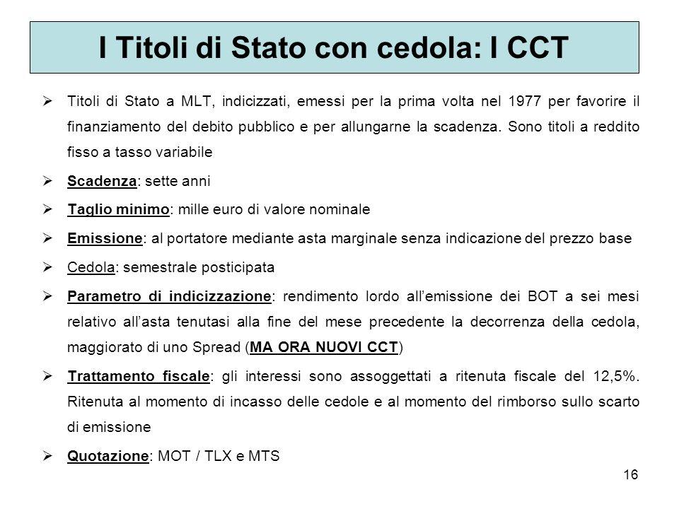 I Titoli di Stato con cedola: I CCT