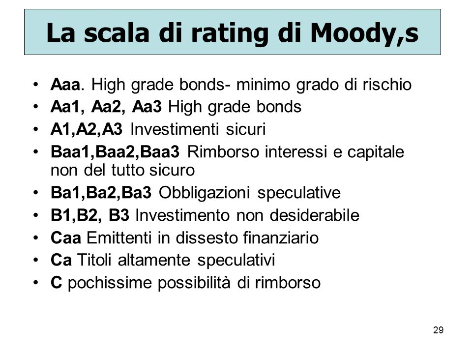 La scala di rating di Moody,s