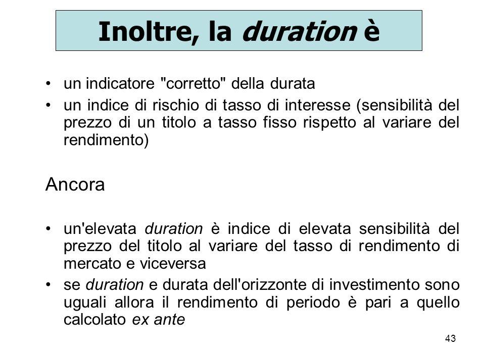 Inoltre, la duration è Ancora un indicatore corretto della durata
