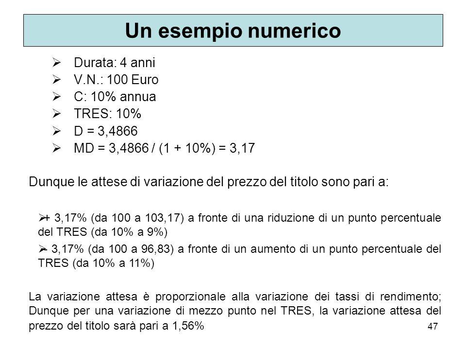 Un esempio numerico Durata: 4 anni V.N.: 100 Euro C: 10% annua