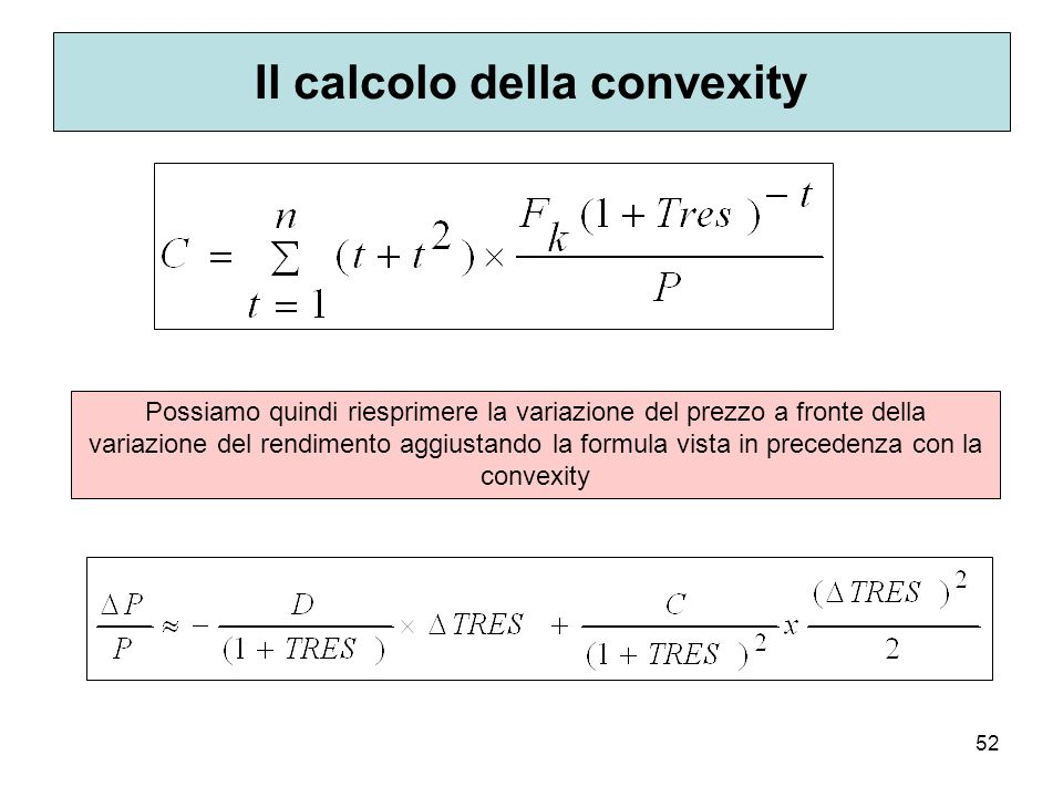 Il calcolo della convexity
