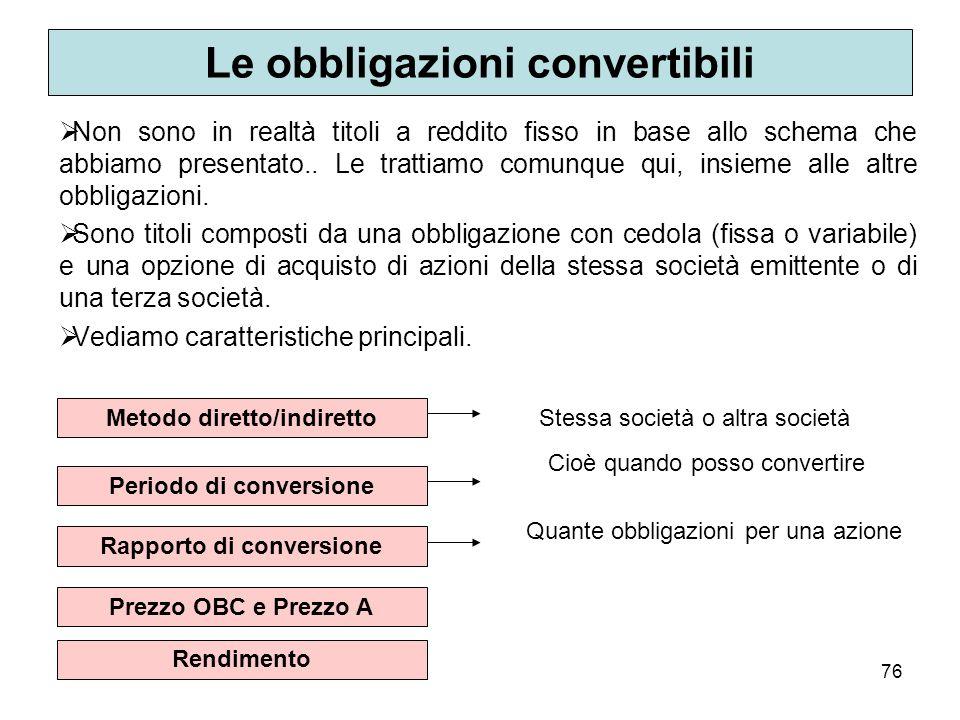Le obbligazioni convertibili