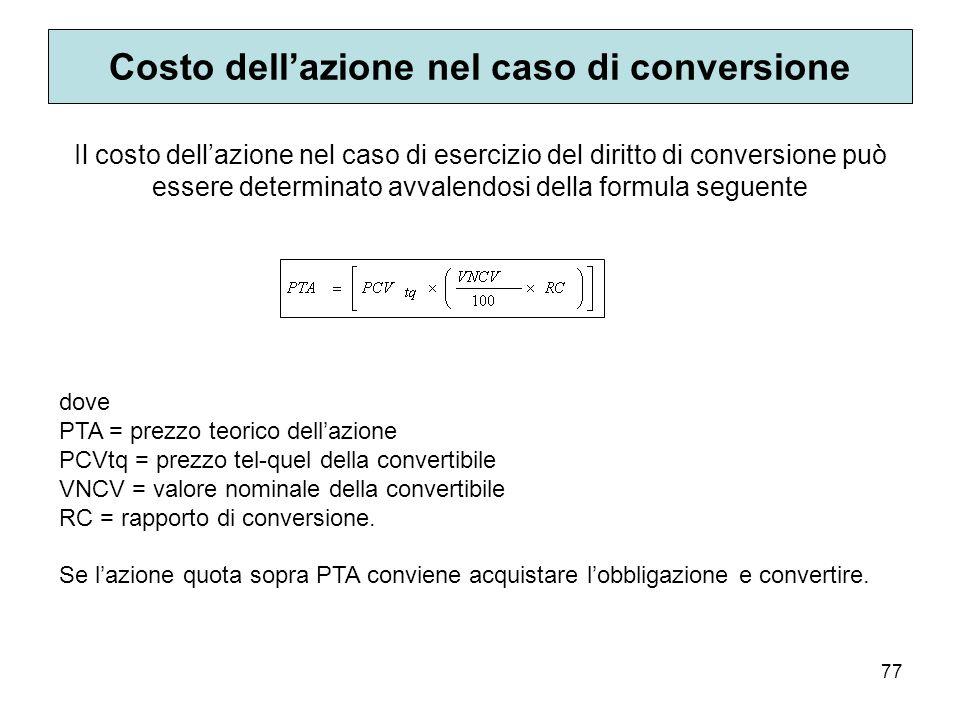 Costo dell'azione nel caso di conversione