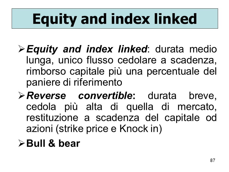 Equity and index linked