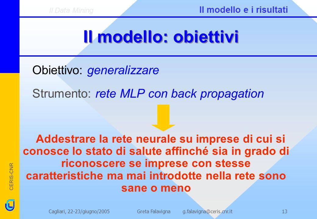 Il modello: obiettivi Obiettivo: generalizzare